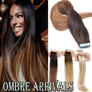 Us Ombre Highlight Tape In On Seamless Skin Weft Remy Human Hair Extensions Cy4
