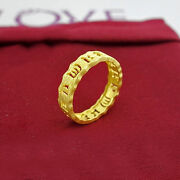 Pure 24k Yellow Gold Ring Band / Six-character Blessing Ring