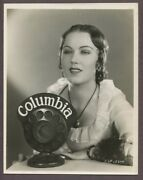 Fay Wray Stunning Art Deco Portrait 1928 Columbia Pictures Linen Back Photo 2917