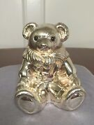 Vintage Genuine Silver-plate Heavy Teddy Bear Coin Bank Paperweight