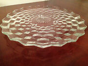 Vintage Fostoria American Pattern Large Round 12 Footed Cake Plate Platter