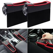 2pcs Car Seat Catcher Gap Filler Storage Box Cup Holder Coin Collector For Left