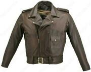 Mens Made In Usa Brown Distressed Leather D Pocket Motorcycle Jacket