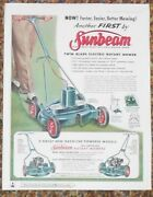 1956 Sunbeam Color Print Ad Electric Powered Self-propelled Rotary Lawn Mower