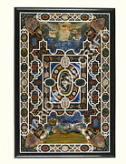 5and039x3and039 Black Marble Dining Table Top Precious Stones Pietra Dura Inlay Decor C837