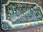 5and039x3and039 Black Marble Dining Table Top Multi Marquetry Inlay Garden Decors C842b