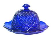 Blue Depression Glass Covered Cheese Dome Butter 2 Piece Dish Large New Cobalt
