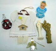 Vintage Lot 6 Christmas Angel Ornaments Cloth Hand Made Beaded Glass Tree Topper