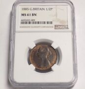 Great Britain 1885 1/2 P Half Penny Ngc Ms61 Bn Ms 61 England Certified Uk Coin