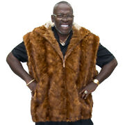 Manandrsquos Whiskey Dyed Mink Sections 32andrdquo Zip Vest With Hood Andndash Size 3xl