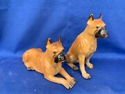 Vintage Set Of 2 Laying Down And Sitting Boxer Boxers Dog Figurine 7/6 4/9 ❤️m13
