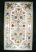 48x24 White Marble Dining Table Top Floral Fine Marquetry Inlay Decors C847b
