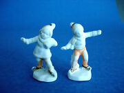 Pair Antique German Bisque Miniature Christmas Figurines - Boy And Girl Skating