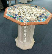 24 Marble Table Top With 18 Tall Lattice Work Stand Marquetry Inlay Decor C945