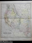 Original Antiquarian 1889 Map Of United States/north America Victorian Geography