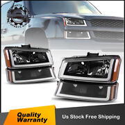 For 03-06 Chevy Silverado Black Headlights/lamps + Signal Bumper Lamps + Led Drl