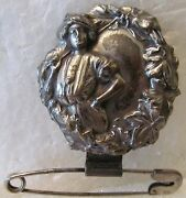 Plated Lapel Pin/broach With Victorian Lady Golfer Holding A Golf Club