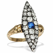 Belle Andeacutepoque Um 1890 Antique Gold And Platinum Ring With Sapphire And Diamonds