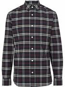 Menand039s Blue Red Check George Cotton Long Sleeve Shirt