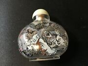 Chinese Inside Painted Reverse Painting Glass Snuff Bottle Calligraphy Landscape