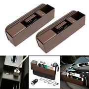 2pc Brown Car Side Pocket Organizer Seat Console Foldable Catcher Cup Holder Box