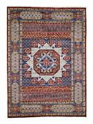 10and0391x13and03910 Red Mamluk Design Hand Spun Pure Wool Oversize Oriental Rug R45887
