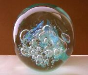 Phenomenal 3 Lb Signed Eickholt Glass Paperweight Iridescent Changing Hues 4.25