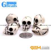 Halloween Carved Bone Skull Beads For Jewelry Making And Decoration Sphere Bulk