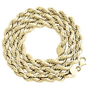 10k Yellow Gold 8mm Diamond Cut Hollow Rope Link Chain Mens Necklace 22-30 Inch