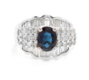 3.46ct Natural Blue Sapphire And Diamond 18k White Solid Gold Ring