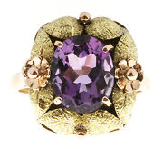 Vintage Victorian 18k Pink Green Gold Textured 3.20ct Oval Natural Purple Ameth
