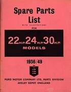 Ford Spare Parts List 22 24 30 Hp Car Commercial 1936-1949 Illustrated Catalogue