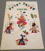 Vintage Circus Baby Blanket Juvenile Novelty 44 X 31 Quilted Lion Seal Clown