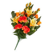 Orange And Yellow Poly Silk Mixed Rose Lily And Gladiolus Half Bush