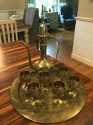Antique Hand Etched Bronze Sherry Decanter And Glasses