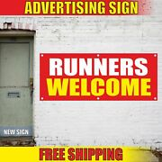 Runners Welcome Advertising Banner Vinyl Mesh Decal Sign Sprint Finish Line Race