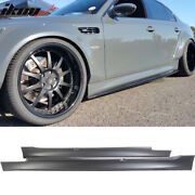 Fits 04-10 Bmw E60 E61 5-series M5 Style Pp Side Skirts Panels Extension Pair