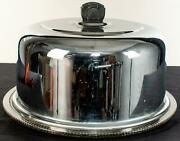 Vintage Cake Plate Stainless Steel Metal Dome Cover