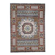 10and0392x14and0392 Gold Mamluk Design Veg Dyes Hand Spun Pure Wool Oriental Rug R45883