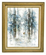 20th Century Oil On Canvas Winter Scene In Forest Signed L.dalan