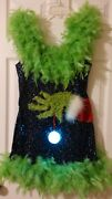 Ugly Christmas Sweater Sequin Led Light M Boa Sexy Dress Express Card