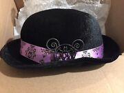 Disney Disneyland Haunted Mansion Derby Bowler Hat And Mickey Mouse Bat Pin New