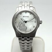 Bulova Womens Quartz Stainless Steel Mother Of Pearl Hearts Glitter Face Watch