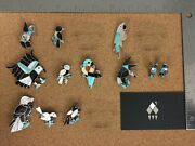 Vintage Zuni Sterling Silver Multi Stones Inlay Lot 3 - Individually On Req.