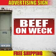 Beef On Weck Advertising Banner Vinyl Mesh Decal Sign Grill Food Truck Fair Bbq