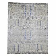 8'x10' Willow And Cypress Tree Design Silk With Textured Wool Rug R46178