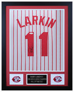 Barry Larkin Autographed And Framed White P/s Reds Jersey Auto Jsa Coa D1-s