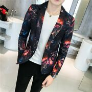 Mens Blazers Floral Print Outwear Jackets One Button Casual Korean Party Slim