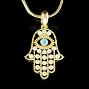 Jewish Hamsa Hand Blue Evil Eye Made With Crystal Gold Tone Necklace
