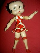 Antique Betty Boop Cameo Wood Segmented Comic Char. Doll Label Red Dress